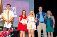 DJ D'Angelo, Cassandra Medina, and Sarah Traczyk receive scholarships from the St. Augustine Lions Club at the 2018 FSDB Senior Awards.